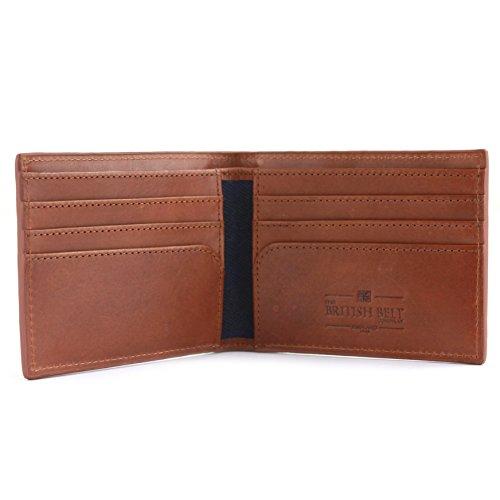 Langdale Genuine Leder & gewachstes Twill Wallet, acht Kreditkartenfächer & Taschen Navy