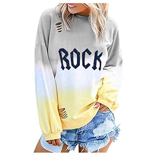 ◆Elecenty◆ Damen Langarm T-Shirt, Rock Sweatshirt Pulli Langarmshirt Sweatshirt Hemd Jumper Bluse Tops Buchstabenmuster und Farbverlauf -