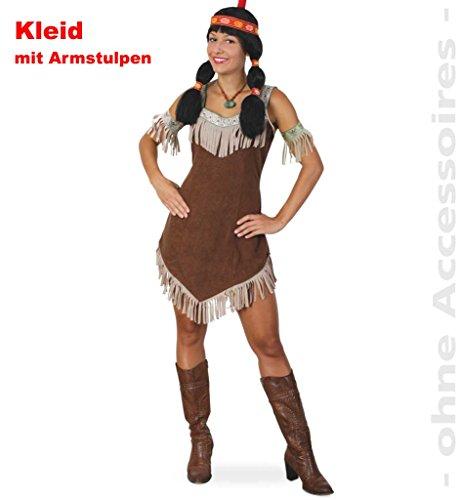 Damenkostüm Indianerin Sisika Kleid mit Armstulpen Ureinwohnerin Indianerkostüm Rothaut Cowboy und Indianer Wilder Westen Karneval Kostüm für Erwachsene ()