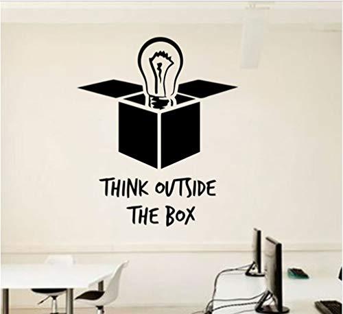Idee Büro Wand Aufkleber Glühbirne außerhalb der Box Vinyl Aufkleber inspirierende Zitate Wandbilder Poster DIY 48X57cm