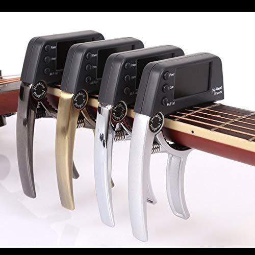 Jacobden Akustikgitarre Capo Elektronische Tuner Combo Gitarrenzubehör Tuner für Gitarre chromatischer Baß-Ukulele