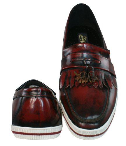 Penguin Birdie Shine Mens Leather Moccasin Shoes Burgundy
