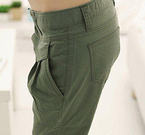 CHENGYANG Donna Casuale Elasticità Matita Pantaloni Capri Slim Taglia Forte Pantaloncini Verde