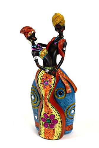 Figura decorativa par africano 34 x 9.5 x 8 cm