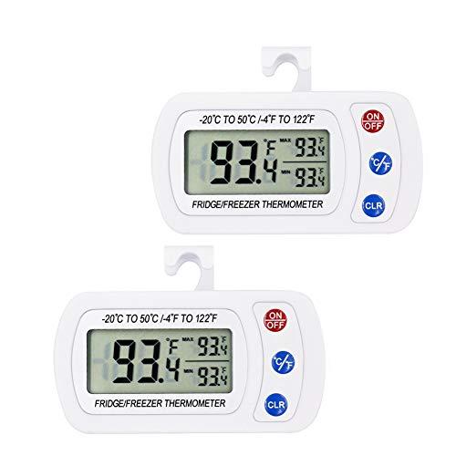 iBetterLife Digitales Kühlschrank-Thermometer, IPX3, wasserdicht, kabellos, mit Haken, großes LCD-Display und Max/Min-Aufnahme-Funktion, 2 Stück - Rv-bereich