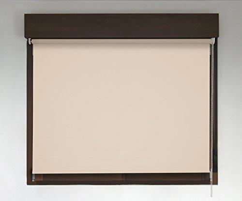 Estor enrollable PREMIUM a medida blackout/opaco (no permite paso de la luz y sin visibilidad exterior). Color beige. Medida 160cm x 240cm para ventanas y puertas