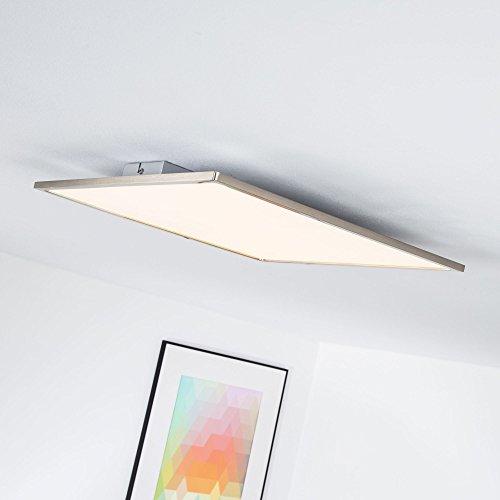 LED Panel 30W Deckenleuchte, 45 x 45 cm eckig, dimmbar mit Lichtschalter, 3000 Lumen, 3000K warmweiß, Metall / Kunststoff, eisen / weiß 45 Lumen-led