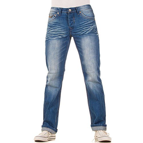 Herren Jeans, REGULAR FIT USED LOOK JEANS, KL-H-A322 Blau