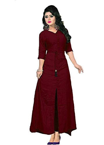 Vaidehi Creation Women long sleeve V-neck Full Stitch Long Gown