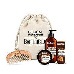 L'Oréal Men Expert Barber Club Premium Geschenkset, Stoffbeutel mit Bartshampoo (200ml), Bartöl (30ml), Bart Styling Pomade (75ml) und gratis Bartkamm