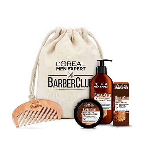 L\'Oréal Men Expert Barber Club Premium Geschenkset, Stoffbeutel mit Bartshampoo, Bartöl, Stylingpomade und gratis Bartkamm