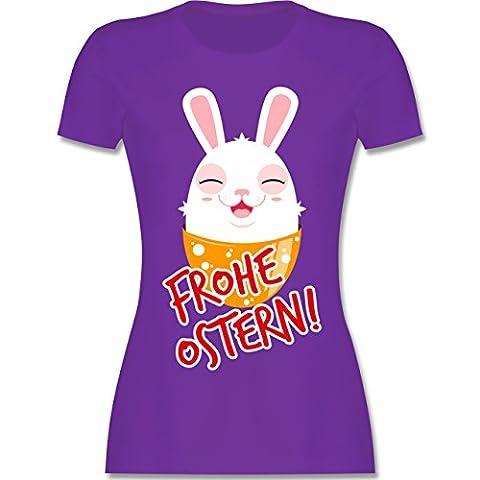 Ostern - Frohe Ostern - Osterhase - XL - Lila - L191 - tailliertes Premium T-Shirt mit Rundhalsausschnitt für Damen