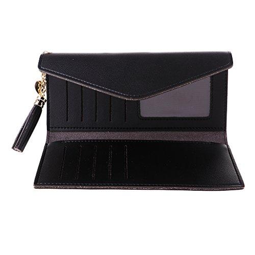 Sharplace Portfeuille en Cuir PU Sac d'Embrayage Porte-Carte Longue Sac À Main Femme Cadeau - Noir, comme décrit