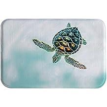 A.Monamour Divertido Mar Tortuga Natación En Azul Mar Animal Amante Temática Agua Coral Vellón