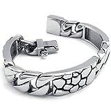 amdxd Jewelry Edelstahl Herren Vintage Style Armbänder Silber Schwarz Länge: 21,6cm Link Armband