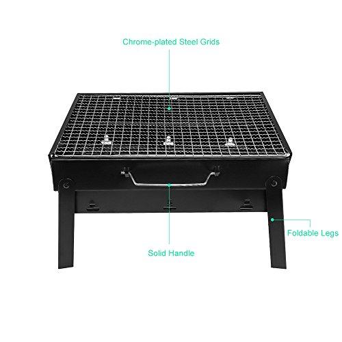 UTEN Barbacoa Portátil de Acero Inoxidable, BBQ de Carbón con Rejilla Portátil Plegable Barbacoa de Exteriores (3 – 5 Personas), Mini Barbecue - 6