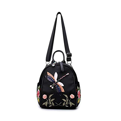 JIAAN Handgefertigte Stickerei Dragonfly Lady Rucksack Fashion Design Female Bag