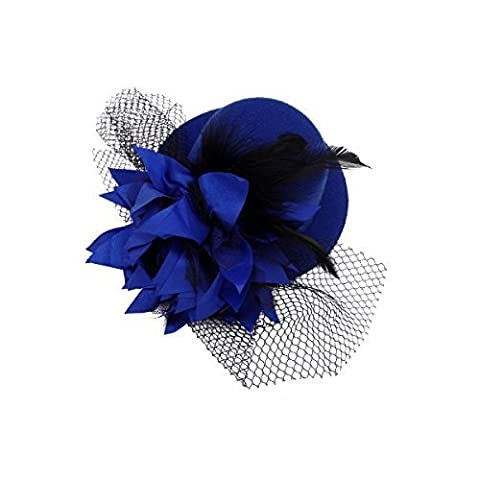 Kalevel® Flower Hair Clip Feather Hair Clip Punk Mini Top Hat with Clips and Veil for Girls Women (Blue) by