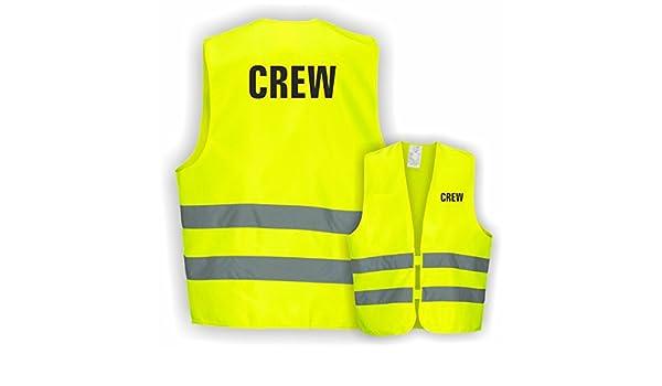 Warnweste GELB Sicherheitsweste Weste Ordner Security Crew Text nach Wunsch 1 Zeilig 10er Paket