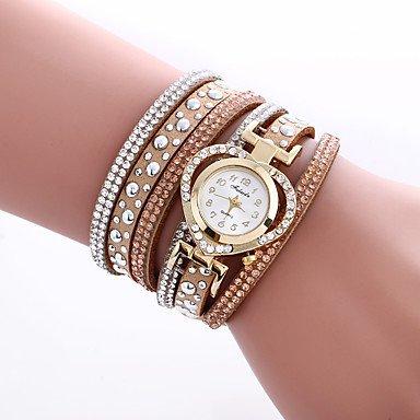 Schöne Uhren, Damen Modeuhr / Armbanduhr / Armband-Uhr Quartz Mehrfarbig PU Band Vintage / Böhmische / Bettelarmband / Armreif / Cool / BequemSchwarz / ( Farbe : Braun , Großauswahl : Für Damen-Einheitsgröße )