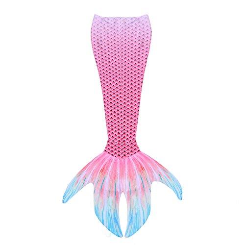 Tiaobug Meerjungfrauenflosse Meerjungfrauenschwanz Zum Schwimmen für Damen Kinder Schwimmen Fotoshooting Kostüm Badeanzug Bademode gr.S-XL Rose S(Taille 58-88cm)