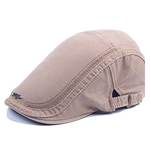 HUACHEN Visier Barett Cap Baumwolle Eisen Standard Style Stickerei Forward Cap Herbst Winter Outdoor-Hüte (Farbe : Light Khaki, Größe : 56-58CM) -