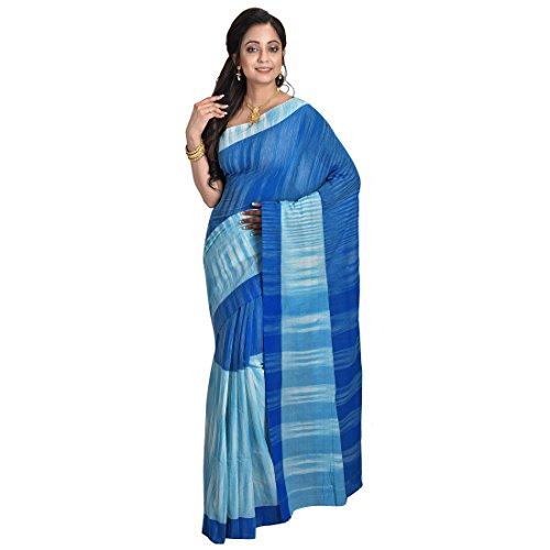 Avik Creations Women's Sambalpuri Handloom Banarasi Khadi Cotton Saree Daily Wear Sky Blue White