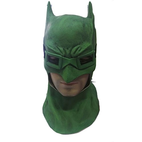 QXMEI Batman Helm Grüne Maske Cosplay Haube Halloween Kostüm Ball Requisiten,Mask+Glasses-OneSize