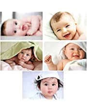 KARTMEN Set of 5 Cute Baby Combo Posters - Smiling Baby Poster - Poster for Pregnant Women - HD Baby Wall Poster for Room Decor 02(300GSM Thick Paper with Laminated,12x18 Inch, Multicolour)