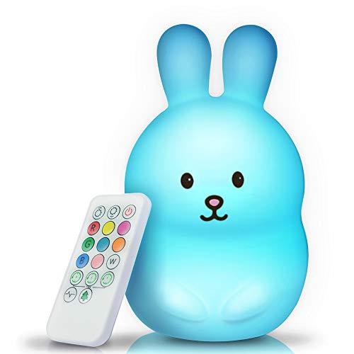 BRUNOKO [bébé veilleuse portable et rechargeable à 9 couleurs] 2019 Nouveau Grand - multicolore LED lampe de nuit pour enfants - USB rechargeable avec télécommande - silicone souple et lavable