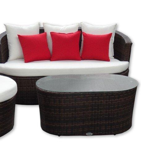 Rattan Gartenmöbel - Garten Lounge Set – rundes Design – Braun mit schwarz. Wetterfest....