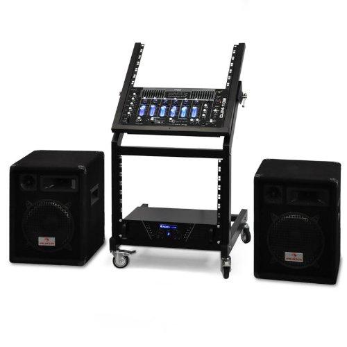 DJ Rack Star Series Mercury Beat PA Komplettset 250 Personen Boxen + Amp + Mixer + Rack - Amp Dj-mixer