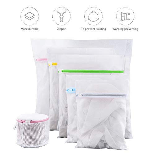 Fansteck 6 Stück Wäschenetz für Waschmaschine, Weicher Wäschebeutel Set, Großer und Kleiner Wäschesack aus Netzstoff mit Reißverschluss für Empfindliche Kleidung Unterwäsche BH Bluse Socken Schuhen