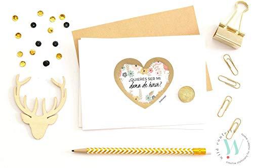 Quieres ser mi dama de honor? Tarjeta de Dama de Honor Testigo boda Invitación de boda Reserva de Fecha Madrina de Boda Postal Rasca