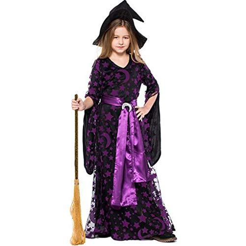 Royalr Mädchen Mond-Stern-Fly-Hexe-Kostüm-Kleid-Hut-Kappen-Partei Halloween Cosplay Kleidung (Molkerei Mädchen Kostüm)