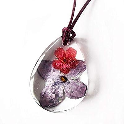 Pendentif fleur Sixtine forme goutte en résine et fleurs de lilas pressées - Bijou nature Collier en fleurs séchées colorées
