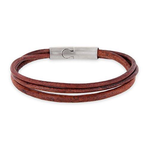 Auroris 3-Strang Echtleder-Armband Magnetverschluss aus Edelstahl mit matt-Optik - antikbraun/Länge 21 cm - Übergangs-metall