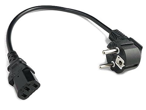 40 cm kurzes Stromkabel/Netzkabel für Kaltgeräte. 90° - Kaltgerätebuchse