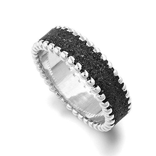 "Ring ""Lavasand/Kugeln"" rhodiniert 925er Silber"