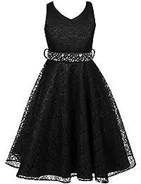 Free Fisher - Niñas Vestidos de Princesa Boda Fiesta Vestidos Elegantes Brillantes de Encaje Floreado