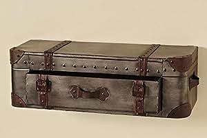 Boltze Étagère avec tiroir en forme de malle Marron foncé 60 x 24 x 18cm