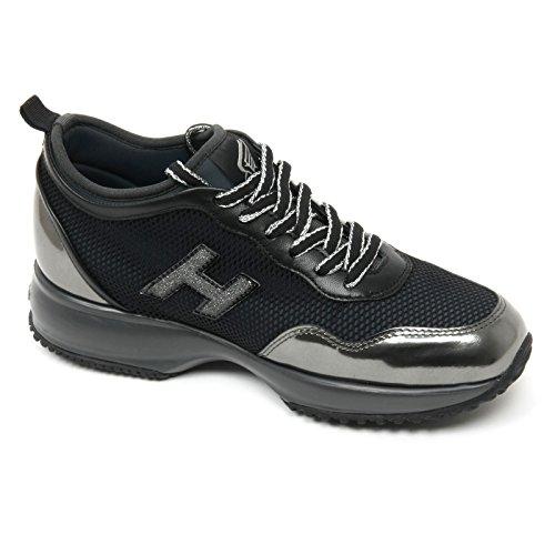 B9372 sneaker donna HOGAN INTERACTIVE scarpa H glitter nero/grigio shoe woman Nero/Grigio