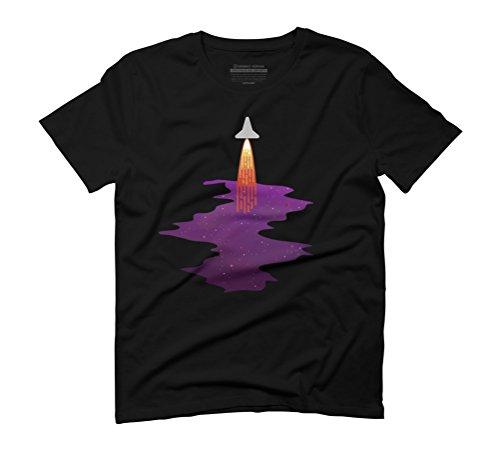 Rocket Leaving Space T-Shirt Men's Graphic T-Shirt - Design By Humans Black