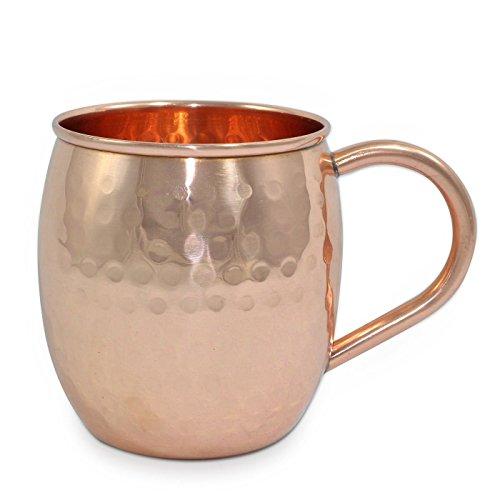 Martillado Moscú cobre puro mula taza 17 oz en barril forma - té/café/cerveza/viajes/beber taza