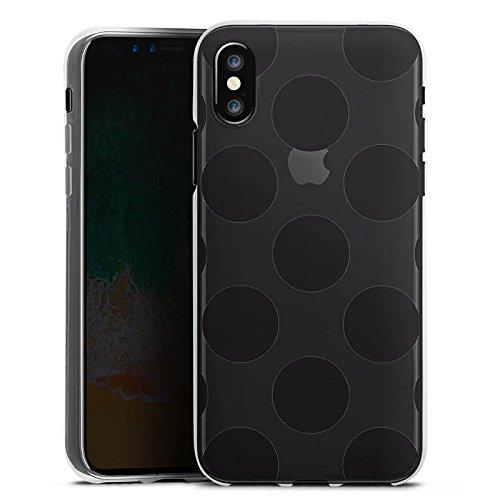 Apple iPhone X Silikon Hülle Case Schutzhülle Transparent mit Muster Punkte Kreise Silikon Case transparent