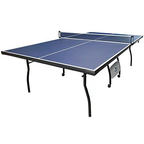 HLC - Tavolo da ping pong, con racchette, palline e rete, pieghevole, dimensioni standard, da esterni e interni, colore: blu
