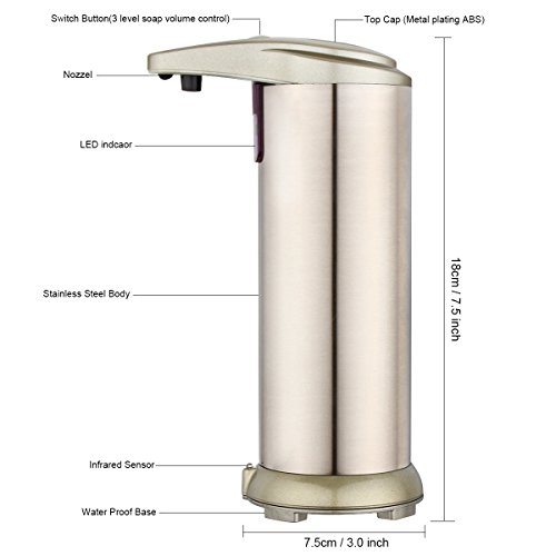 Dispensador de jabón automático  dispensador de jabón de acero inoxidable Touchless con sensor Resistente a huellas dactilares y base impermeable para cocina Cuarto de baño desinfectante Shampoo