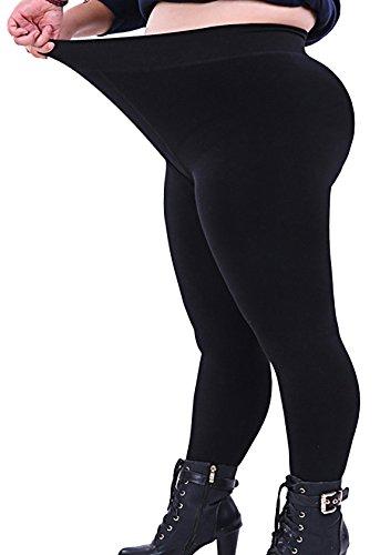 Seawhisper Sport Leggings Damen Baumwolle High Waist Leggins Damen Schwarz 46 XL