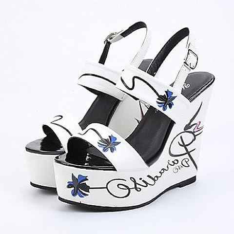 CBIN&HUA Zapatos de mujer-Tacón Cuña-Cuñas / Plataforma / Punta Abierta-Sandalias-Vestido-Semicuero-Negro / Blanco , white , us8 / eu39 / uk6 / cn39