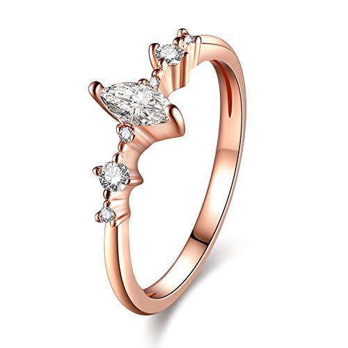 WANZIJING Verlobungsring, Band in Marquise-Gold mit Kristallschliff, hochwertige Mode, zarter Ring für Frauen,7 (Saphir-diamant-jubiläum-band)